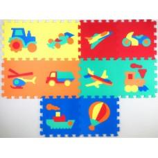 """Коврики-пазлы с машинками (10 шт.), 12"""",1025"""