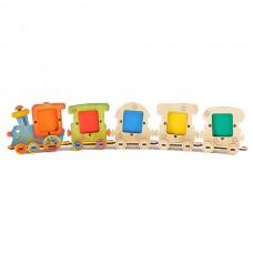 Набор Веселый паровозик Игрушка деревянная с товарным знаком ВУДИ