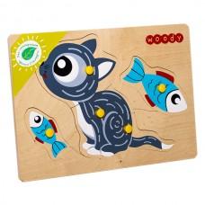 Котик Игрушка деревянная с товарным знаком ВУДИ