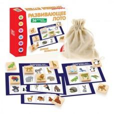 Дикие животные Рзвивающее лото (36 фишек + 6 карточек + мешочек)