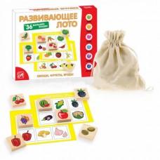 Овощи, фрукты, ягоды Развивающее лото (36 фишек + 6 карточек + мешочек)