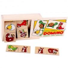 Животные домино в деревянной коробке