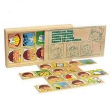 Органы чувств домино в деревянной коробке