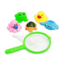 NN Резиновая игрушка-пищалка для купания. ЗАБАВНАЯ РЫБАЛКА (5 шт., сачок), Арт. HC071320