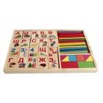 Деревянная игрушка. Набор д/счета АЗБУКА, ПАЛОЧКИ И БЛОКИ (40 пал,40 блок с карт,8 брус),арт.ИД-3790