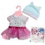 Набор одежды для куклы с подгузником и пустышкой.
